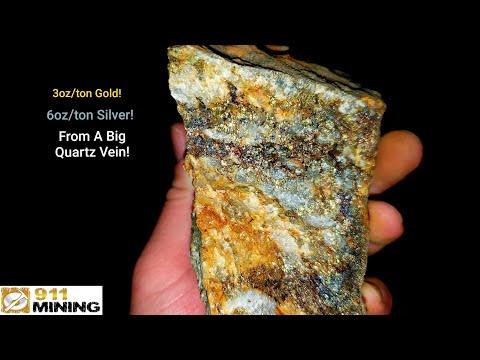Mega High Grade Gold Quartz Vein With Bornite, Chalcopyrite & Galena!