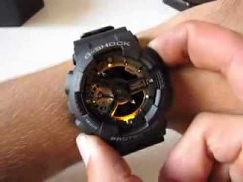 CASIO G-Shock GA-110RG-1A - black rose gold ana-digi watch - YouTube 55b6e06ed1
