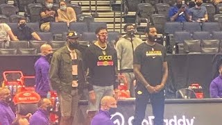 LeBron, AD and Drummond  enjoying Lakers blowout the Raptors in Tampa