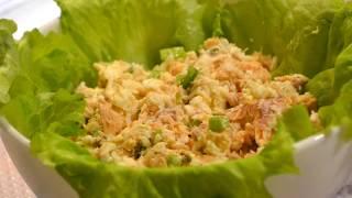 Салат из консервированной горбуши. Салат на праздничный стол. Вкусные блюда.