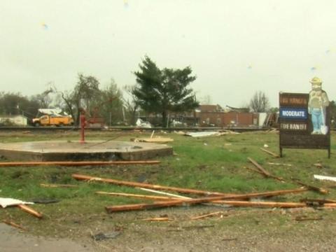 Raw: Tornado Damaged Missouri School, Fire House