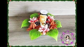 Decoração Natalina Com Flores em Eva e Vela – Para Iniciantes