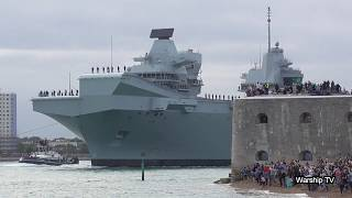 HMS QUEEN ELIZABETH R08 LEAVES PORTSMOUTH FOR F-35B FIGHTER JET TRIALS IN THE USA - 18th August 2018
