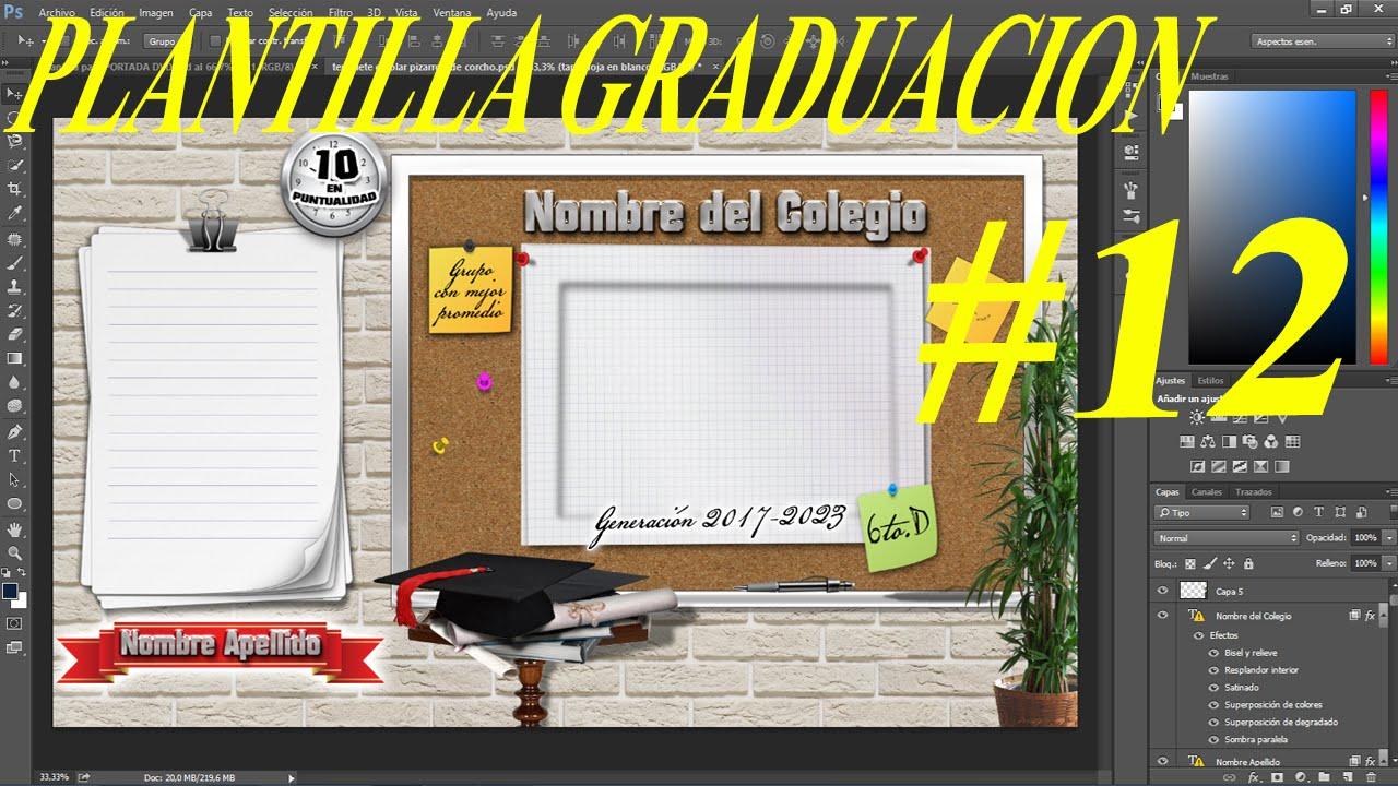 Plantilla psd Graduación para colocar fotos - diseños tablero con ...