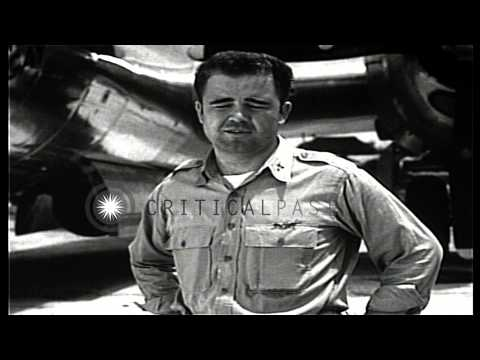 Interview of Major Charles Sweeney, pilot of the B-29 that dropped the atomic bom...HD Stock Footage
