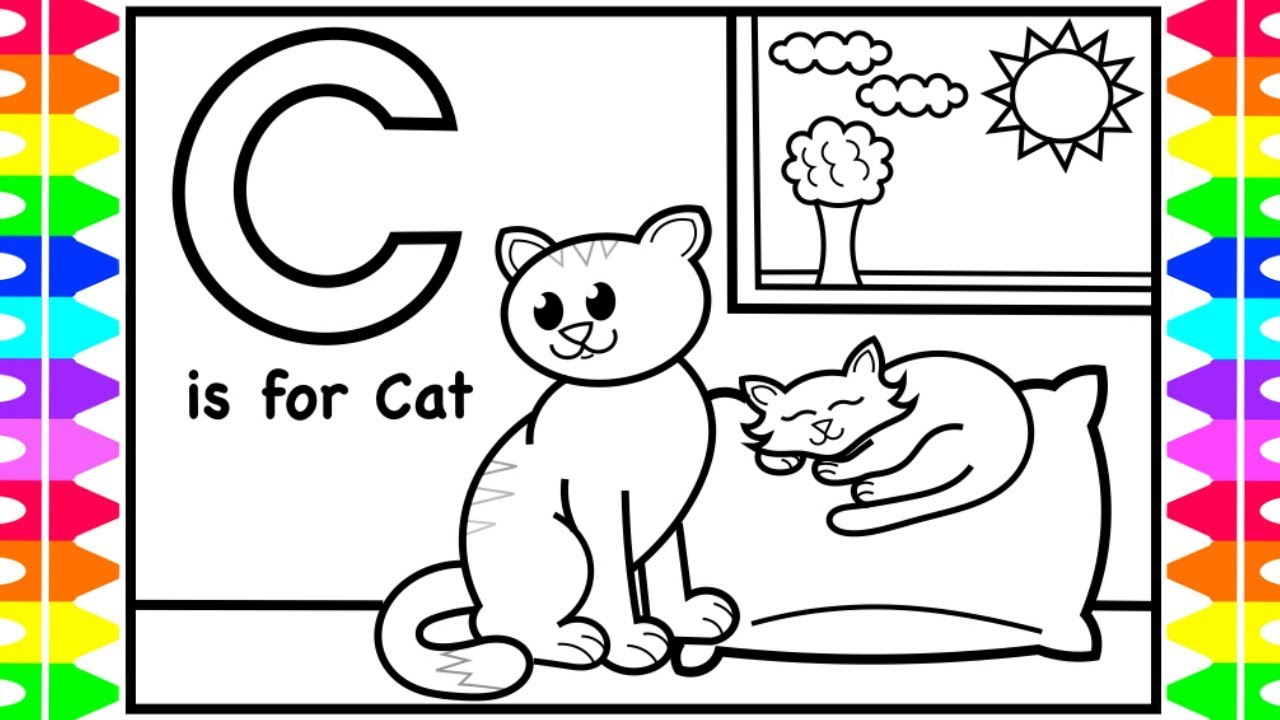 ABC Coloring Pages for Kids  C is for Cat Coloring Page  Fun Alphabet  Coloring Pages Kids  ABC