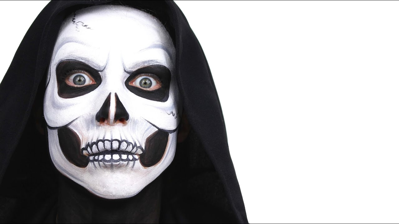 halloween advanced skull face paint tutorial snazaroo youtube - Halloween Skull Face Paint Ideas