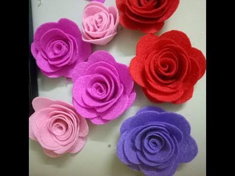 DIY - Hướng dẫn làm hoa hồng bằng vải dạ