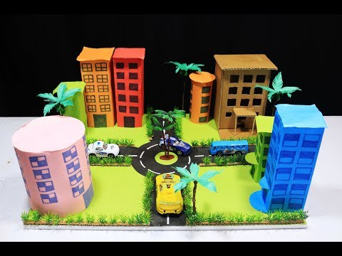 diy miniature modern city with origami paper - science school exhibition