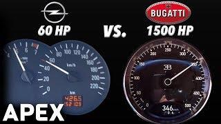 2018 Bugatti Chiron 1500 Hp Vs. 2003 Opel Corsa 60 Hp - Acceleration Sound 0-100 Km/H | Apex