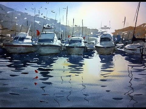 Watercolour demonstration - How to paint boats, water and reflections #2