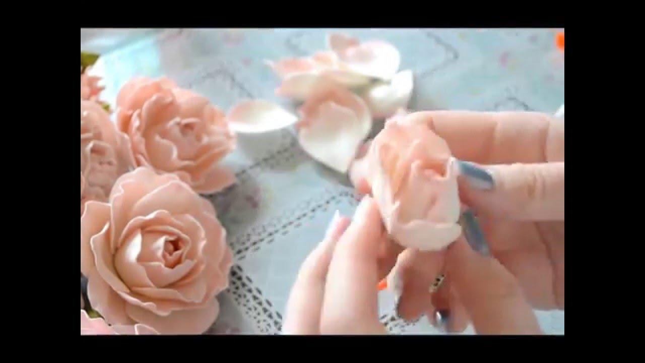 Фоамиран цветы мастер класс для начинающих выкройка фото 870