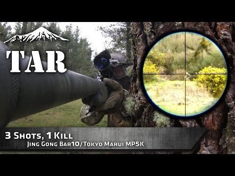 Airsoft Sniper - 3 shots... 1 kill - Jing Gong Bar10 (ScopeCam)