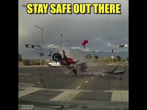 High speed motorcycle crash
