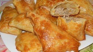Слоеные пирожки с мясом. Рецепт