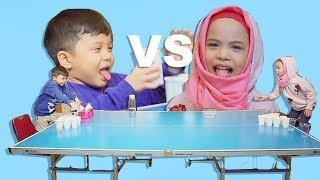 Bocah Minum Jamu Kocak!! | Qahtan VS Saleha Halilintar Jamu Pong Challenge