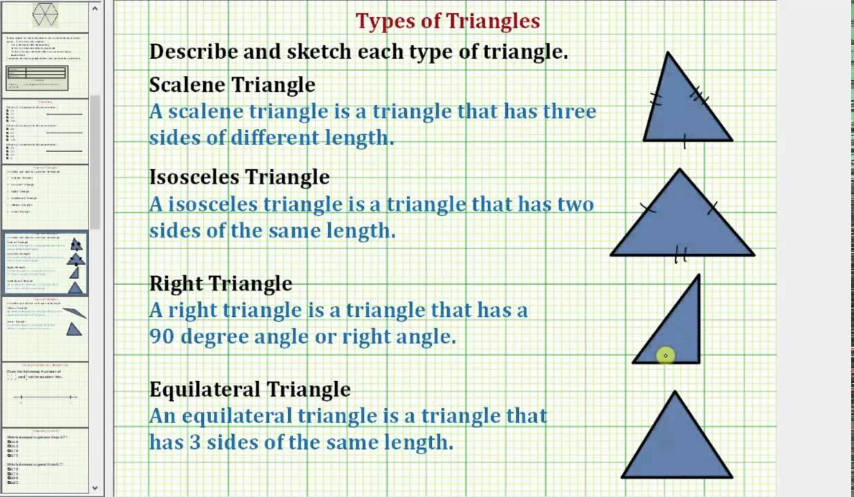 Define Types of Triangles (Common Core 3/4 Math Ex 8)