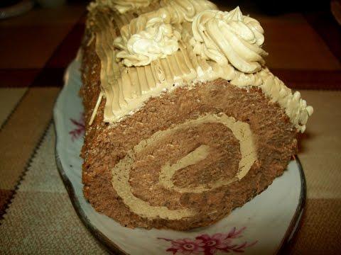 Бисквитный шоколадный рулет с кофейным кремом
