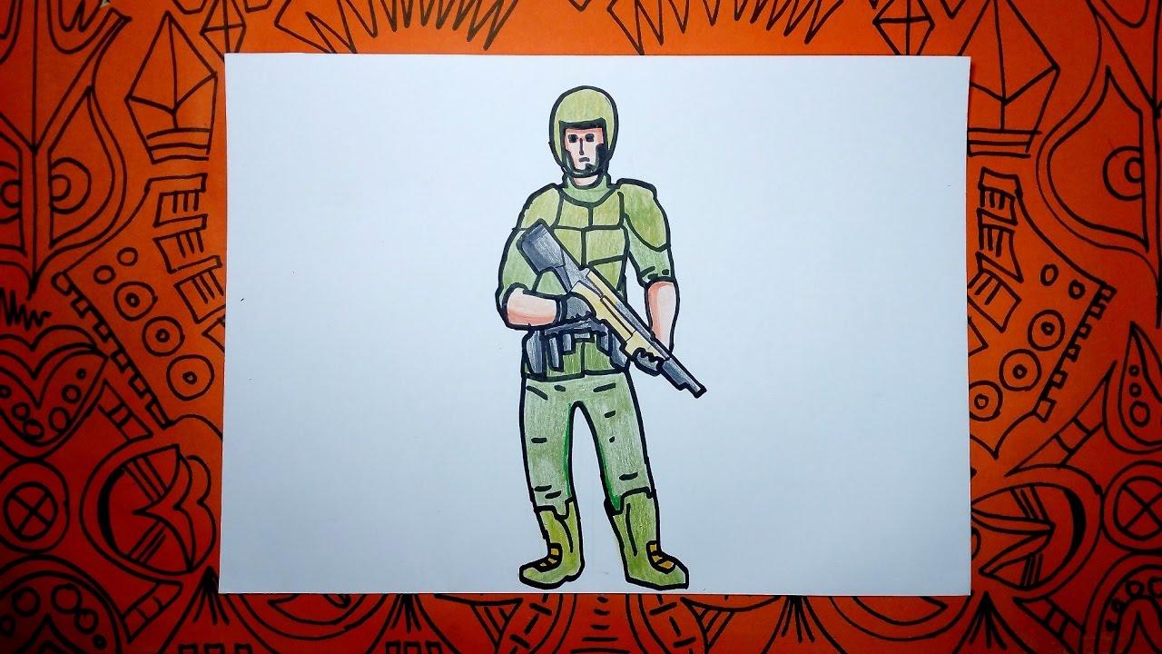 Cómo dibujar y pintar un soldado fácil - Pasos sencillos - YouTube