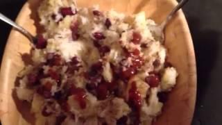 vegan recipe! rice/potatoes/pineapple and hot sauce!