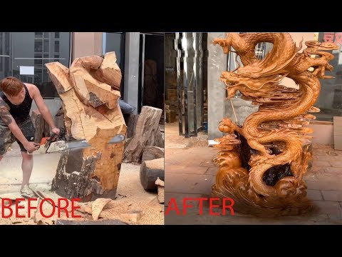 Amazing Fastest Skill Wood Carving With Chainsaw, Pinnacle of wood sculpture art - Woodworking