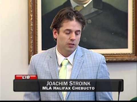 Joachim Stroink, MLA Halifax Chebucto, reads Brigadoon Day resolution