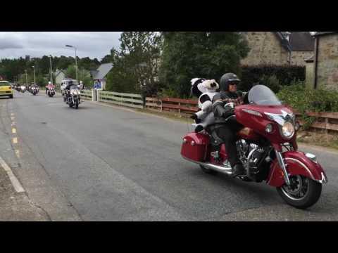 Thunder in the Glens. Harley Davidson riders going through Nethybridge.