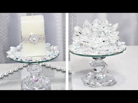 Beautiful Crystal Candle Holders Easy Dollar Store DIY #homedecor #springdecor #dollartree