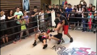MANNY PACQUIAO'S SON IN ALL OUT, NO RULES BOXING EXHIBITION; PACQUIAO JR SHOWS HEART IN HEATED BRAWL