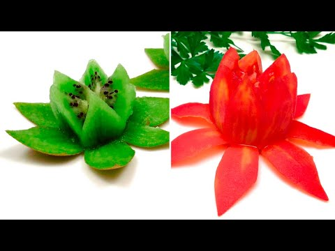 Fleurs de Lotus en Tomate et Kiwi en 2 Minutes / Présentation Facile et Rapide
