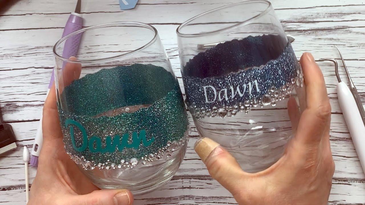 Personalized Glittered Wine Glass Wineglass WBling