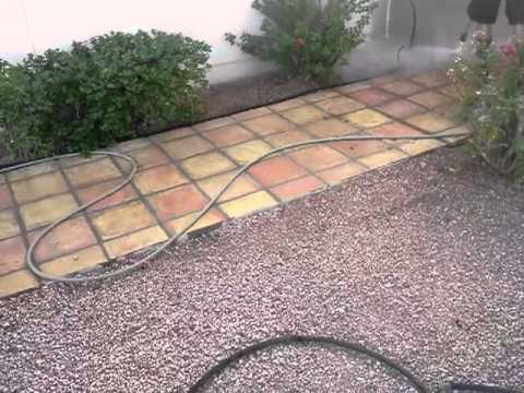 Saltio tile patio floor clean up by Pave Cleaner - YouTube