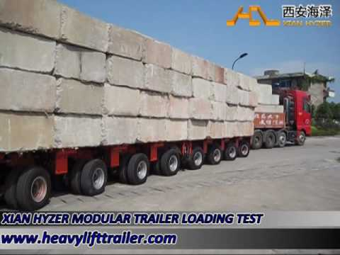 2 sets of 9 axle lines of hydraulic modular trailer loading test part II