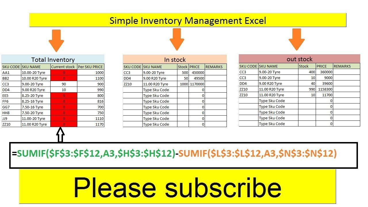 Simple Inventory Management Excel   How to create simple ...