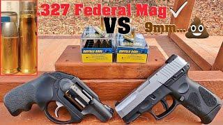 .327 Federal Mag BEATS 9mm Episode 1. Buffalo Bore Hard Cast