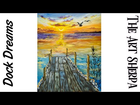 Sunset over Water with pier Acrylic Painting on Canvas for Beginners