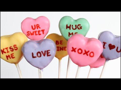 Sweethearts (Conversation Hearts) Cake Pops!! - YouTube