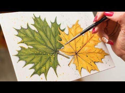 Autumn and Summer Leaf - Acrylic painting / Homemade Illustration (4k)