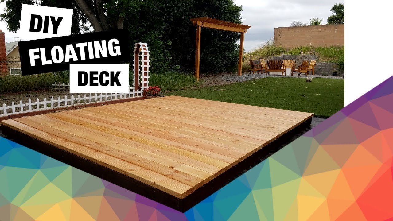 Diy Floating Deck How To Build A Detached Deck Backyard Ground Level Youtube