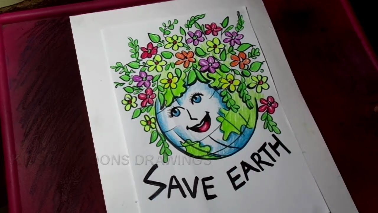 how to draw save earth save environment poster drawing for kids