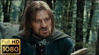 Боромир пытается отобрать кольцо у Фродо. Властелин колец: Братство кольца.