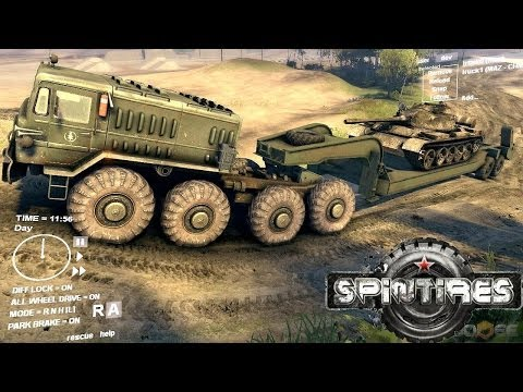 Spin Tires Dev Demo July - MAZ 535 Transporting a T 55 ...