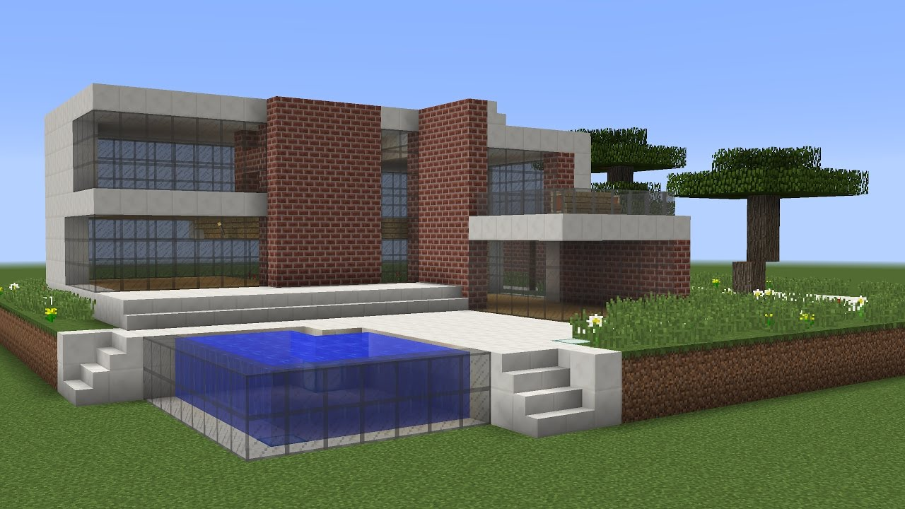 Minecraft how to build a modern house tutorial nr 3 for Building a house for 250k