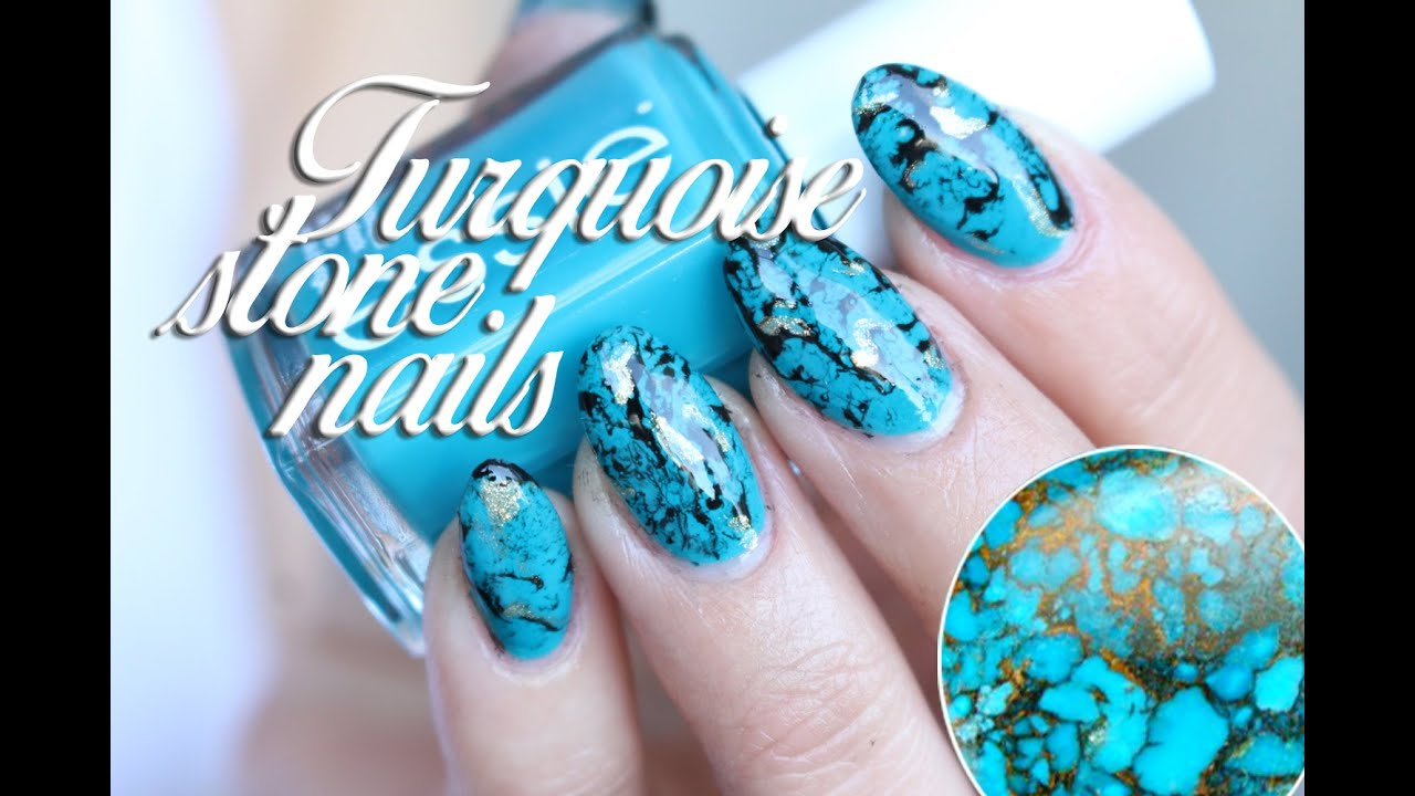 TURQUOISE STONE NAILS TUTORIAL, water marble - YouTube