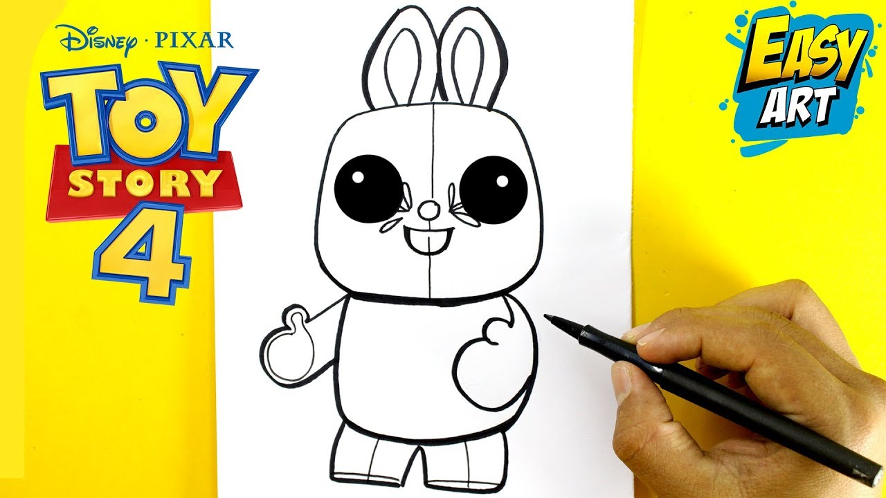 Como Dibujar Al Conejo Toy Story 4 Kawaii 2019 How To Draw And Colour Toy Story Easy Art