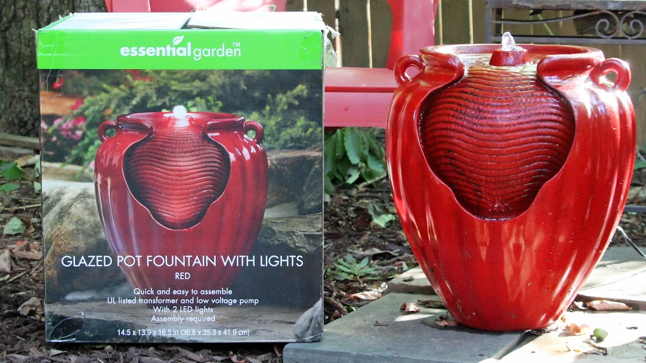 ESSENTIAL GARDEN GLAZED POT FOUNTAIN🉐 RED LED Lights Product Review 🉐