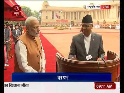 Nepal PM Sher Bahadur Deuba receives ceremonial reception at Rashtrapati Bhavan