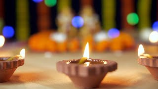 Close up shot clay oil lamps decorated for Diwali -the festival of lights