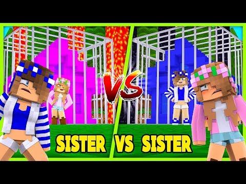 SISTER V SISTER BASE BUILD CHALLENGE | Minecraft Little Kelly Plays