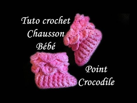 tuto crochet chausson point crocodile au crochet stitch booties youtube. Black Bedroom Furniture Sets. Home Design Ideas